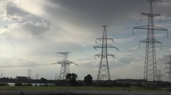 Atomic power plant, Background Electric Poles farm, HD Stock Footage
