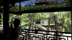 Vietnam Phú Mỹ district villages 076 asian café house balcony Stock Footage