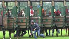 4k Horse Racing close up start scene Stock Footage