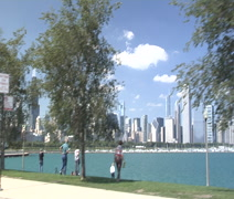 Vehicle shot of Chicago's Skyline Stock Footage