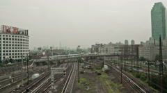 Subway tracks viewed from moving subway train in Queens, New York, USA Stock Footage