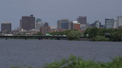 Beacon Hill Skyline across the Charles River, bridge in foreground Stock Footage