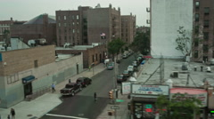 Queens viewed from moving MTA subway in New York Stock Footage