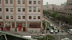 Queens neighborhood viewed from moving subway train in New York, USA Stock Footage