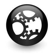 black glossy computer icon - stock illustration