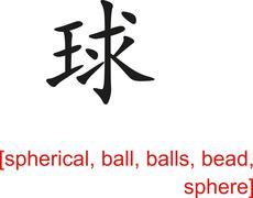 Chinese Sign for spherical, ball, balls, bead, sphere Stock Illustration