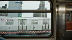 MTA subway train window on elevated track in New York, USA Stock Footage