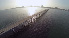 900 meters long pontoon in the Black Sea - stock footage