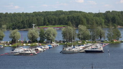 Marina, the harbour in Lappeenranta. Finland. 4K. Stock Footage