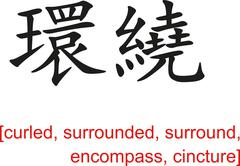 Chinese Sign for curled, surrounded,surround,encompass,cincture Stock Illustration
