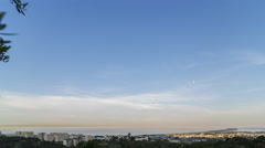 Time lapse of the sunset and moon rise over the city of Bastia 4k Stock Footage