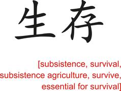 Chinese Sign for subsistence, survival, subsistence agriculture - stock illustration