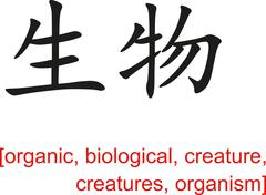 Chinese Sign for organic,biological,creature,creatures,organism - stock illustration
