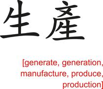 Chinese Sign for generate, generation, manufacture, produce Stock Illustration