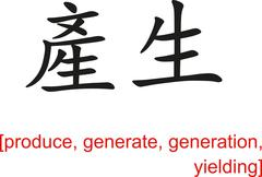 Stock Illustration of Chinese Sign for produce, generate, generation, yielding