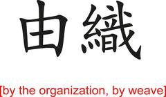 Chinese Sign for by the organization, by weave - stock illustration