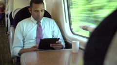 Interior Of Busy Commuter Train With Businesspeople Stock Footage