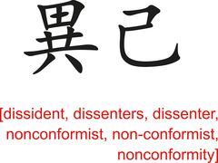 Chinese Sign for dissident,dissenter,nonconformist Stock Illustration