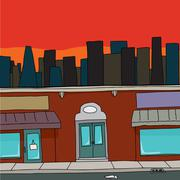 Storefront with skyline Stock Illustration