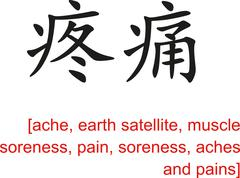 Stock Illustration of Chinese Sign for ache, earth satellite, muscle soreness, pain