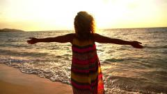 Beautiful Serene Woman Spreading Arms at Sunset. Slow Motion. Stock Footage