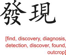 Chinese Sign for find, discovery, diagnosis, detection Stock Illustration