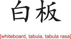 Chinese Sign for whiteboard, tabula, tabula rasa - stock illustration