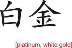 Stock Illustration of Chinese Sign for platinum, white gold