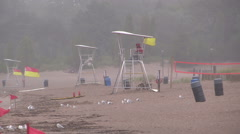 Storm wind cold summer day at the beach, big waves in Grand bend Ontario 2014 Stock Footage