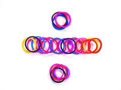 Colorful rubber band divide symbol. with white isolate, Stock Photos