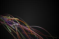 Corner Rainbow Strands Line Dark Background - stock illustration