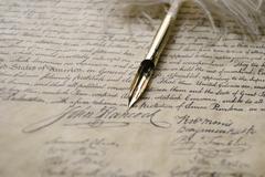 John Hancock's Signature by Quill Pen - stock photo