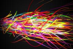 Super Sonic Rainbow Strands Line Glow Dark Background Stock Illustration