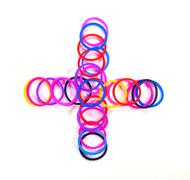 Colorful rubber band plus symbol. with white isolate, Stock Photos