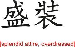 Chinese Sign for splendid attire, overdressed - stock illustration