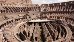 Colosseum indoor panning shot Stock Footage