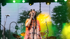 rasta  alter  reggae ska punk hard core metal band on music festival - stock footage