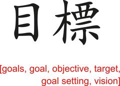Chinese Sign for goals, objective, target, goal setting, vision - stock illustration