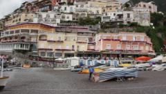 Positano pan from ocean to buildings Stock Footage