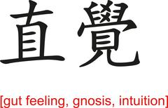 Chinese Sign for gut feeling, gnosis, intuition Stock Illustration