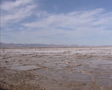 Pan Bristol Lake, a dry salty lake bed in the California Mojave desert Stock Footage