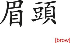 Chinese Sign for brow - stock illustration