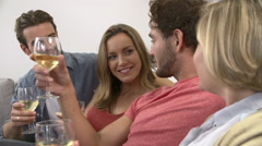 Group Of Friends Enjoying Glass Of Wine At Home Stock Footage