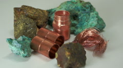 Copper Minerals Finished Products Dolly Stock Footage