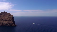 The blue Mediterranean sea blue ocean water and cliffs Stock Footage