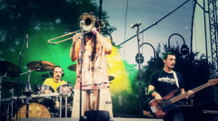 Rastaman punk alter  reggae ska punk hard core metal band on music festival Stock Footage