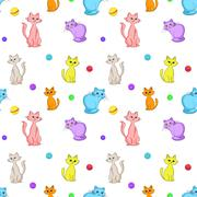 Stock Illustration of background, cats and balls
