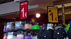 Cheap One Euro shop blooming in European cities Munich Germany Europe Stock Footage