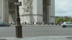 View of Place Charles de Gaulle and the Arc de Triomph in central Paris, France Stock Footage