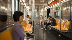 passengers on MTA subway train in New York, USA - stock photo